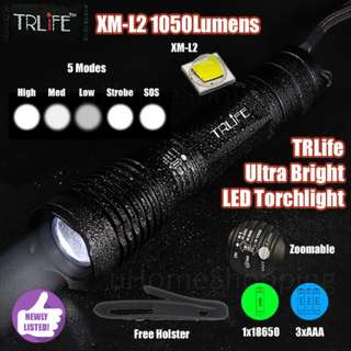 TRLife 1050Lm XM-L2 Ultra Bright LED Torchlight - Cree Torch (Free Holster)