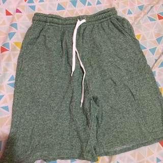 Green training shorts