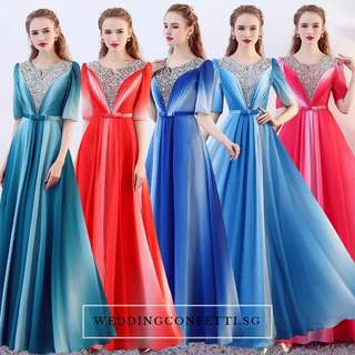 *Brand New* Octavia Wedding Bridal Fuschia  / Red / Green / Blue Long Sleeves Ombre Bridesmaid Dress