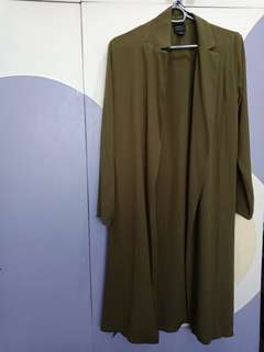Olive green long sleeves cardigan
