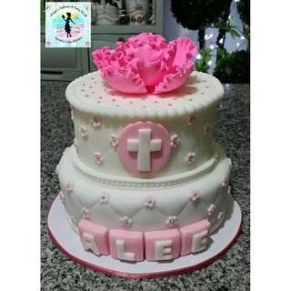 Two-Layer Baptismal Fondant Cake with Pink Peony Sugar Flower and Silver Dragees