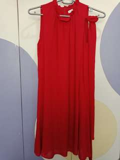 Red pleated dress (used once)