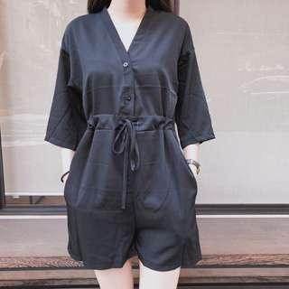 氣質黑短袖連身褲