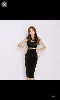Black sleeveless lace sexy bare back chiffon dress