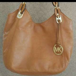 reprice authentic michael kors brown leather bag