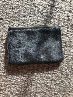 Women's authentic status anxiety black fur purse
