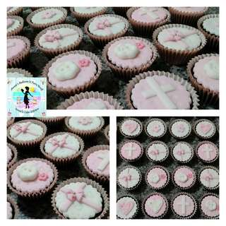 20 Baptismal Party Giveaway Belgian Chocolate Cupcakes with Fondant Toppers and Silver Dragees