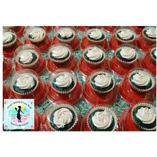 40 Giveaway Cupcakes: Bestselling, All-Time Favorite Moist Belgian Chocolate Cupcakes with Vanilla Icing Swirl in Acetate Containers
