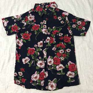 Summer Floral Print Button Down Polo