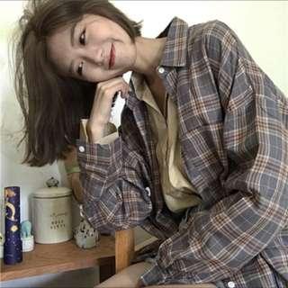 🚚 韓系格子襯衫