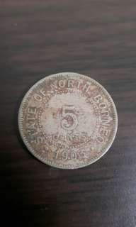 Old coin uncirculated 5cent 1903 borneo