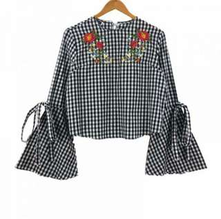 Bell Sleeve Checkered Top