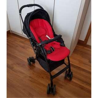 Preloved Aprica Luxuna Comfort Red Stroller / Pram
