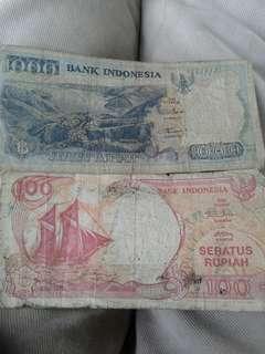 Di jual uang pecahan 1000 thn 92,1 lmbar dan pecahan 100 thn 92,1 lmbar