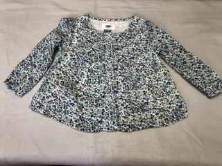 Girl's floral long-sleeved top