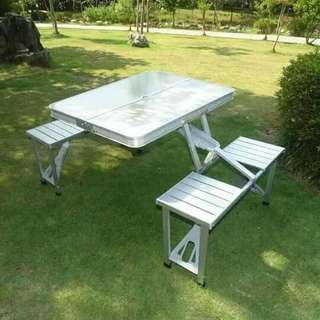 Foldable stainless table set