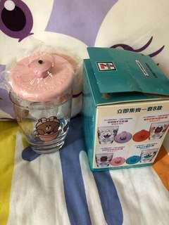 7-11 玻璃杯 Line 粉藍m紅