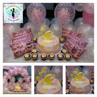Twinkle Little Star Theme Baptismal Fondant Cake, Cupcakes, and Balloon Arrangement