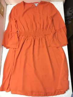 H&M Orange Chiffon Dress with Bell Sleeves Double Lining