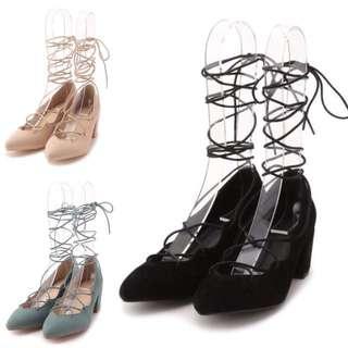 lilybrown 黑色根綁帶鞋S號