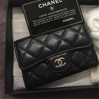 Chanel Black Lambskin Cardholder with SHW