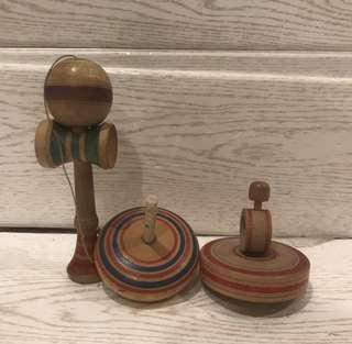 🚚 日本昭和童玩 古玩具 木製コマ 希少品