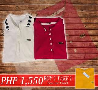 Buy 1 Take 1 Lacoste Polo Shirt Women  w/Free 1 T Shirt