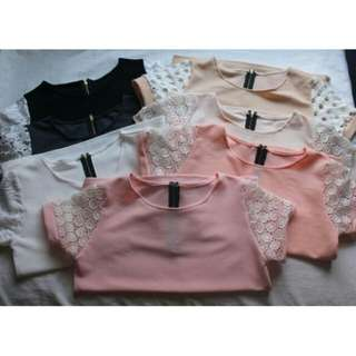 Blouse with Lace sleeves (Zipback)