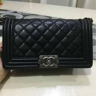 Chanel Old Medium Black Calfskin with Ruthenium Hardware