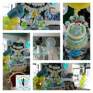 Baptismal Party Package: 2-Layer Fondant Cake, Giveaway Cupcakes for Party Guests & Godparents, 3-Tier Stand, and Balloons