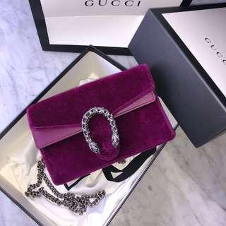 Gucci Super Mini Dionysus Velvet Magenta