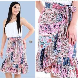 Pink Mini Floral Wrap Skirt