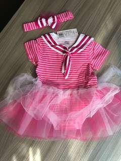 全新 水手包屁紗裙+髮帶 (80碼)嬰兒連身衣 爬服 兔裝,非T恤 洋裝 外套