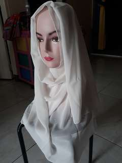 Pashmina putih gading sifon