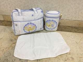 Baby travel diaper bag set tas perlengkapan bayi botol alas