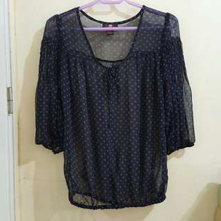 Black and Blue Polka See-through Blouse