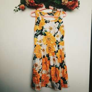 YELLOW FLORAL SUNDAY DRESS