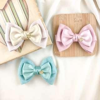 🚚 Handmade women barrette clip hair bow, women hair clip for work, korean hair clip, champagne hair bow, beige bow clip, long hair accessory, formal