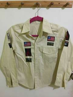 Collared shirt with army patches
