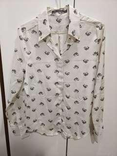 米白絲質薄長袖襯衫