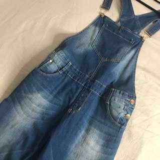 Full Length Overalls Medium Wash Size M