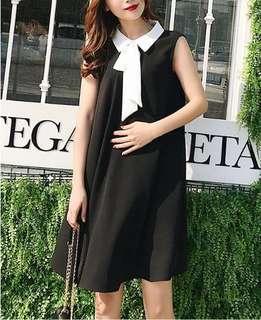 【MATERNITY】【CLOTHING】PMD0003 WOMEN CLOTHING MATERNITY BLACK WHITE RIBBON  PREGNANT DRESS