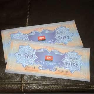 MPH RM50 gift vouchers (10% OFF)