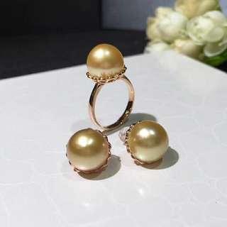 18K金南洋金珠12mm套裝 簡約經典的款式,中金色,強光澤👍突顯珠子