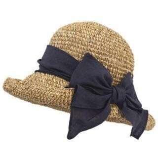 CA4LA天然草編帽(深藍蝴蝶結/可折可調/免運)