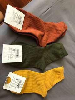 韓國糖果純色條紋中筒襪3雙