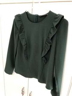 Zara dark green ruffle top