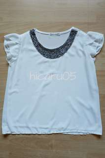 Liva Girl White Ruffle Sleeve Top