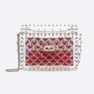 *BRAND NEW* VALENTINO ROCKSTUD SPIKE MEDIUM CHAIN BAG (Transparent)