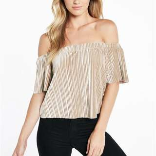 BNWT Bardot Velvet Pleat Top